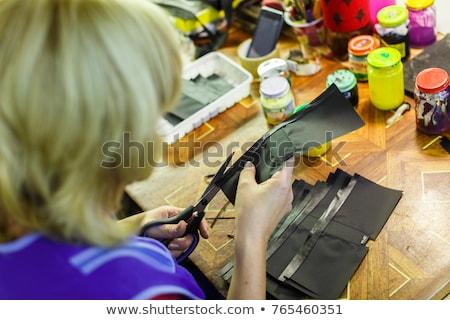 Kadın cüzdan sarışın kadın mavi makas Stok fotoğraf © Traimak