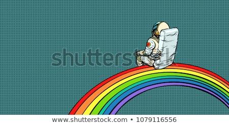 Astronot gökkuşağı pop art Retro komik karikatür Stok fotoğraf © studiostoks