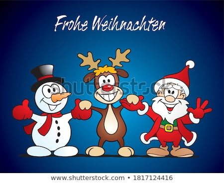 happy santa claus cartoon mascot character waving stock photo © hittoon