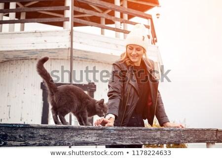 Navy cardigan old women black_beauty stock photo © toyotoyo