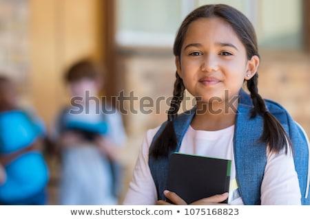 Portret vrolijk jong meisje student rugzak vergadering Stockfoto © deandrobot