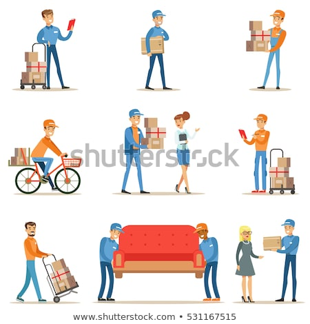 delivery and moving service   cartoon people characters set of situations stock photo © decorwithme