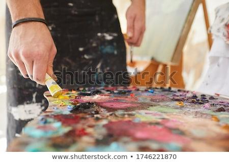 Kunstenaar palet schilderij kunst studio creativiteit Stockfoto © dolgachov