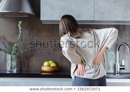 widok · z · tyłu · kobieta · cierpienie · ból · biały · zdrowia - zdjęcia stock © kzenon