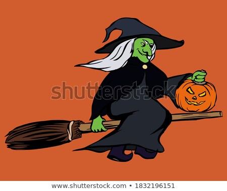Witch in the green hat, broom and pumpkin lantern Stock photo © TasiPas