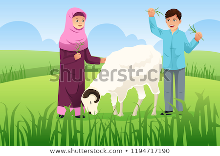 Muslim Couple With Their Goat Illustration Stockfoto © Artisticco