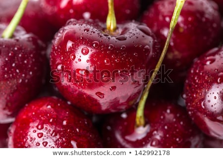 close up of natural fresh ingredients with healthy breakfast   strawberry blueberry chopped almond stock photo © artjazz