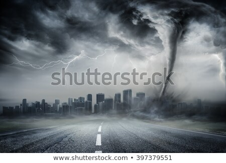 A cyclone disaster in city Stock photo © bluering