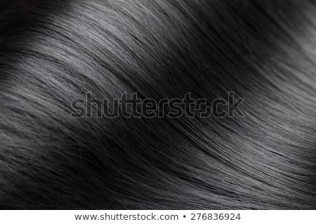 közelkép · fényűző · fényes · fekete · haj · egyenes · textúra - stock fotó © tommyandone