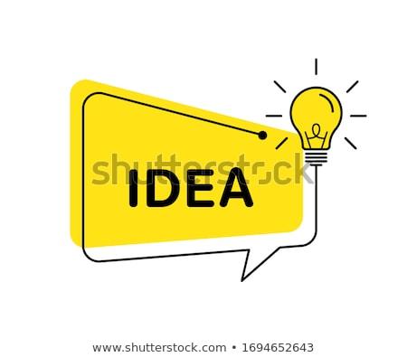 Idea lamp with Speech bubbles simple icon. Communication sign. L stock photo © kyryloff