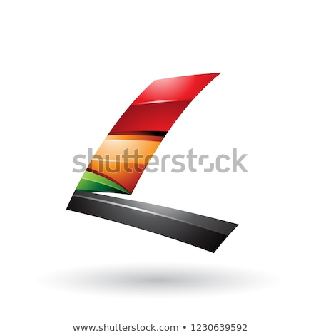 Red Black and Orange Dynamic Glossy Flying Letter L Vector Illus Stock photo © cidepix