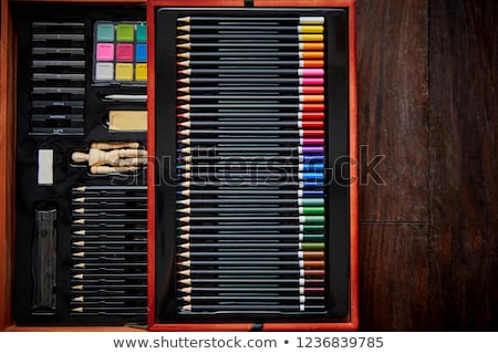 Professional artist drawer or painter set in wooden case Stock photo © dash