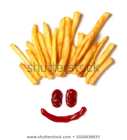 haj · krumpli · sültkrumpli · arc · mosoly · ketchup - stock fotó © FreeProd