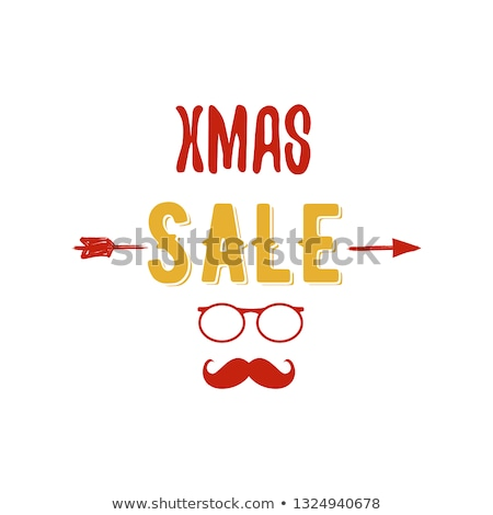 xmas sale typography overlay with arrow santa glasses and beard christmas offer lettering emblem stock photo © jeksongraphics