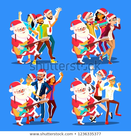 Santa Claus Dancing With Group Of People And Guitar In Hands. Christmas Party Vector Illustration Stock photo © pikepicture