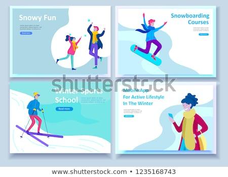 Kış açık eğlence iniş sayfa mutlu insanlar Stok fotoğraf © RAStudio