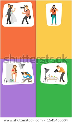Photographers with Camera Vertical Bright Banners Stock photo © robuart