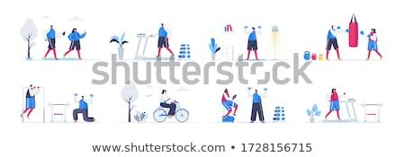 Tredmolen fiets ingesteld geïsoleerd fiets Stockfoto © robuart