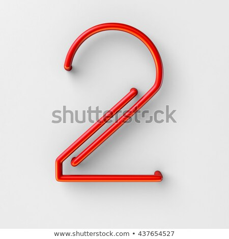 metal red lines font number two 2 3d stock photo © djmilic