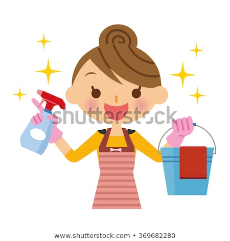 young housewife cleaning vector illustration stock photo © rastudio