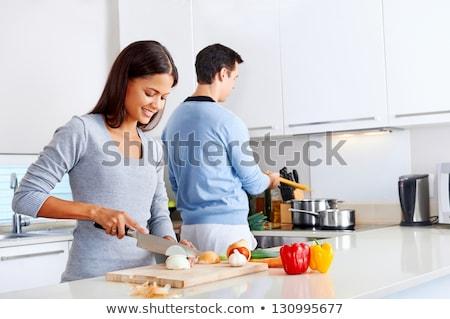 Ritratto cucina felice wireless Foto d'archivio © AndreyPopov