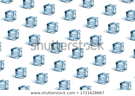 Creative pattern with blue light ice cubes with shadows on a background in a color of the year 2019  Stock photo © artjazz