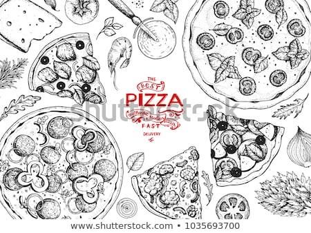 Schets pizza champignons ontwerp kaas zwarte Stockfoto © Arkadivna