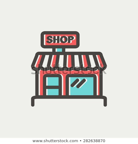 Marketplace Color Minimalist Thin Line Design Icon Stock photo © robuart