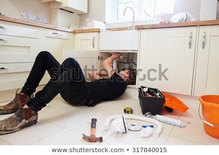 Encanador ferramentas afundar branco cozinha Foto stock © Kurhan