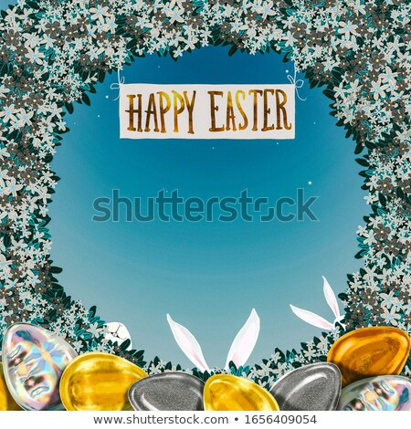 golden easter eggs hare ears green vintage stock photo © limbi007