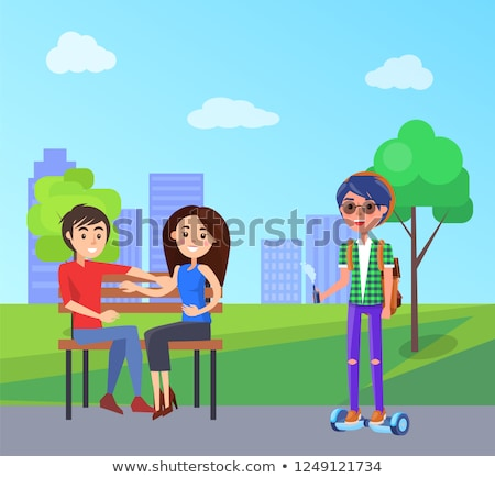Students in City Park and Male with Vape Vector Stock photo © robuart