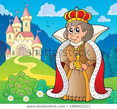 Boldog királynő kastély tavasz művészet építészet Stock fotó © clairev
