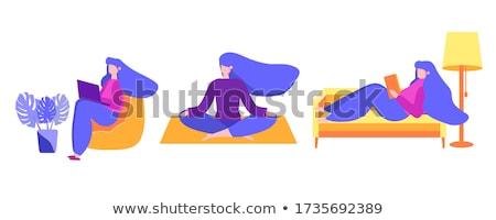 businessman meditating sitting in sofa flat vector illustration stock photo © makyzz