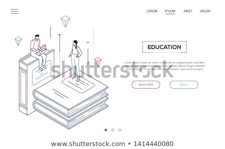 Stock photo: Online education - line design style isometric web banner