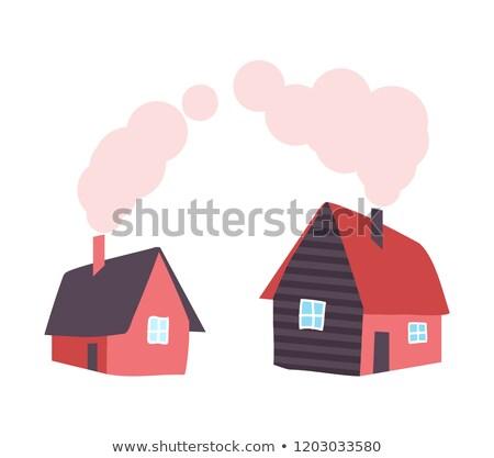 País casa chaminé fumar tubo vetor Foto stock © robuart
