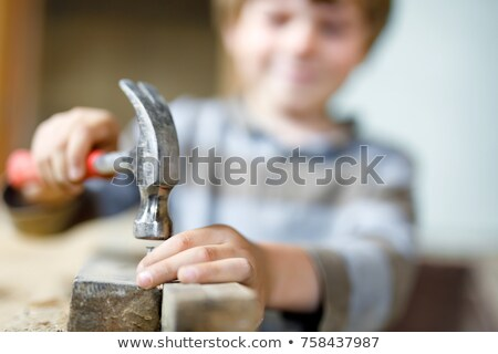 construction tool, new hammer in male hand  Stock photo © OleksandrO