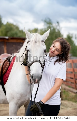 Young woman cuddling white racehorse and looking at her while chilling out Stock photo © pressmaster