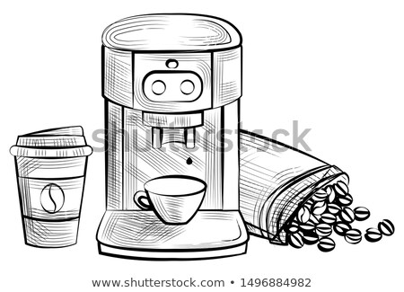 Coffee Making Machine and Plastic Cup Monochrome Stock photo © robuart