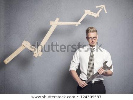 ポジティブ · ビジネスマン · ポインティング · 孤立した · 白 · ビジネス - ストックフォト © lichtmeister