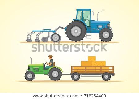 citromsárga · modern · traktor · részletes · kép · izolált - stock fotó © cienpies