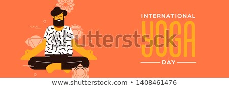 Yoga Day banner of man in lotus pose exercise Stock photo © cienpies