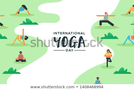 Yoga Day card of people doing exercise outdoor Stock photo © cienpies