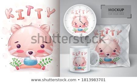 Aranyos cica poszter vektor eps 10 Stock fotó © rwgusev