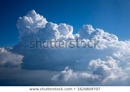 Sun beams are lighting huge white cumulus clouds. Stock photo © artjazz