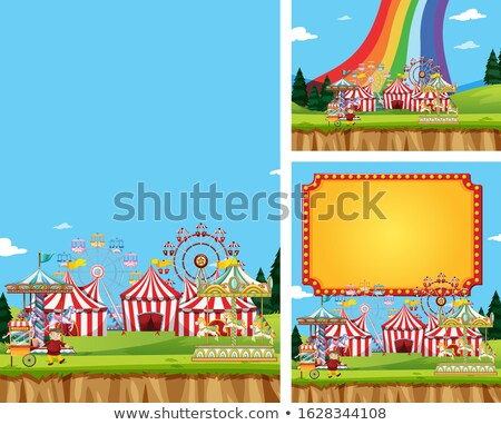 Three scene of circus with many rides Stock photo © bluering