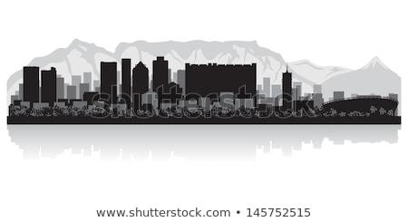 Cape Town zwart wit silhouet eenvoudige toerisme Stockfoto © ShustrikS