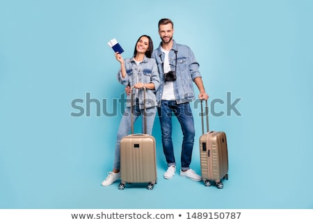 Gelukkig paar lucht tickets paspoort camera Stockfoto © dolgachov