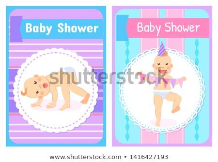 Gyerek baba pelenka kártya vektor zuhany Stock fotó © robuart
