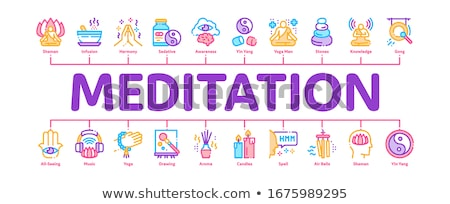 Meditation Practice Minimal Infographic Banner Vector Stock photo © pikepicture