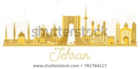 Teherán városkép arany sziluett egyszerű turizmus Stock fotó © ShustrikS